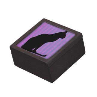 Black Cat Silhouette on Purple Stripes Premium Jewelry Boxes