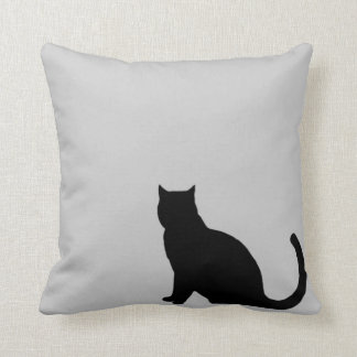 black cat silhouette pillow