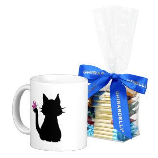 Black Cat Silhouette Pink Butterfly Coffee Mug