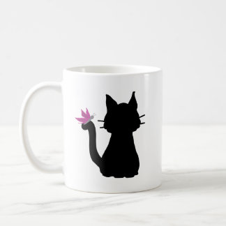 Black Cat Silhouette Pink Butterfly Coffee Mug