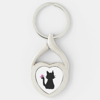 Black Cat Silhouette Pink Butterfly Silver-Colored Heart-Shaped Metal Keychain