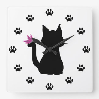 Black Cat Silhouette Pink Butterfly Square Wall Clock