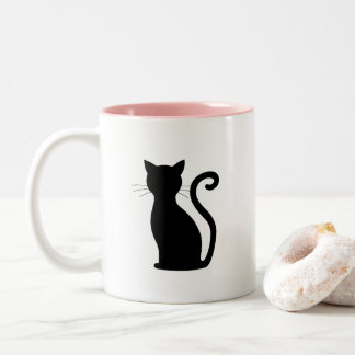 Black Cat Silhouette Pink Inside Coffee Mug