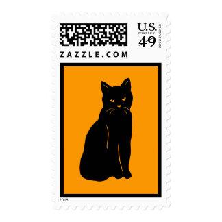 Black Cat Silhouette Postage Stamp Halloween