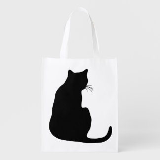 Black Cat Silhouette Reusable Grocery Bag