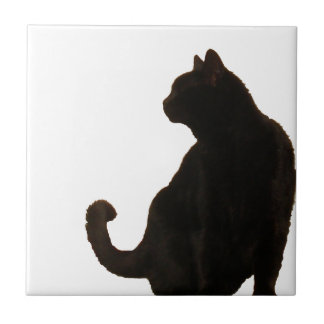 Black Cat Silhouette Tile