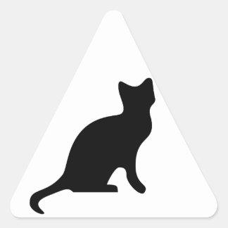 Black Cat Silhouette Triangle Sticker