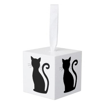 Christmas Themed Black Cat Silhouette White Cube Christmas Ornament