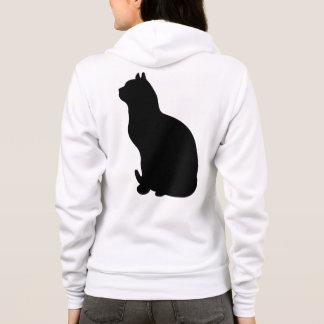 Black cat silhouette white fleece hoodie