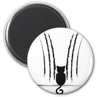 Black Cat Silhouette with Scratches 5 2 Inch Round Magnet