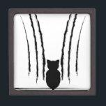 """Black Cat Silhouette with Scratches 5 Keepsake Box<br><div class=""""desc"""">https://www.behance.net/SNchameleo3033 Stylized cat silhouette with claw scratches marks.</div>"""