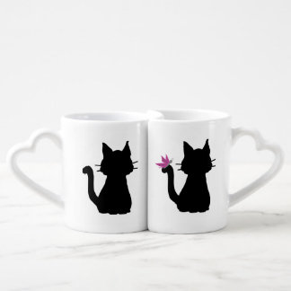 Black Cat Silhouettes Pink Butterfly Coffee Mug Set