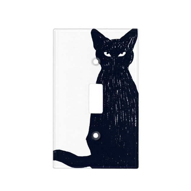 Black Cat Single Toggle Light Switch Cover