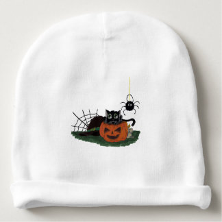 Black Cat sits on a Jack o Lantern with Spider Baby Beanie