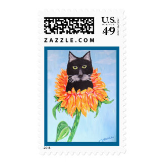 Black Cat Sitting in a Sunflower Postage