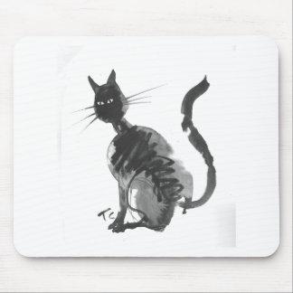 black cat sitting mouse pad