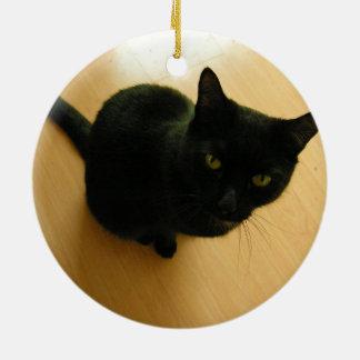 Black Cat Sitting on a Hardwood Floor Ceramic Ornament