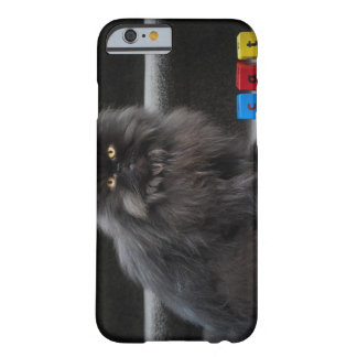 Black cat sitting on stairs by building blocks. barely there iPhone 6 case
