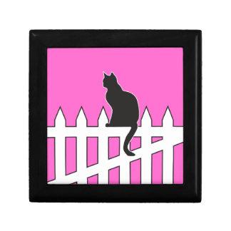 Black Cat Sitting on White Picket Fence Waiting Trinket Box