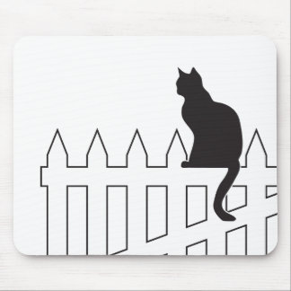 Black Cat Sitting on White Picket Fence Waiting Mouse Pad