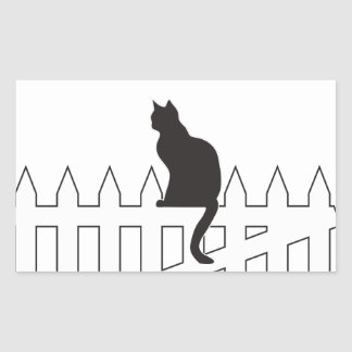 Black Cat Sitting on White Picket Fence Waiting Rectangle Stickers
