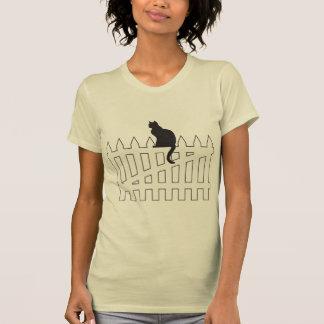 Black Cat Sitting on White Picket Fence Waiting T-Shirt