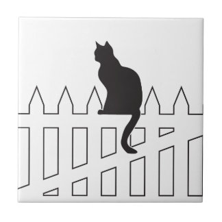 Black Cat Sitting on White Picket Fence Waiting Small Square Tile