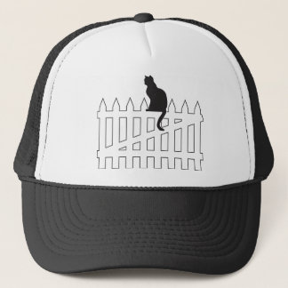Black Cat Sitting on White Picket Fence Waiting Trucker Hat