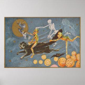 Black Cat Skeleton Ghost Witch Demon Poster