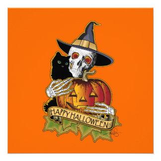 Black Cat Skull n Pumpkin Custom Invitations