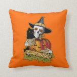 Black Cat, Skull 'n Pumpkin Pillow