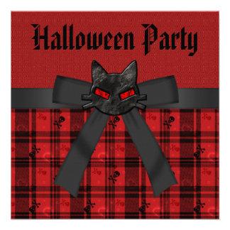 Black Cat Skulls Red Plaid Halloween Party Invitation