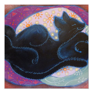 Black Cat. Sleeping. Card