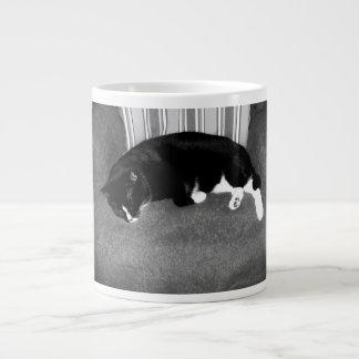 black cat sleeping on chair bw photo 20 oz large ceramic coffee mug