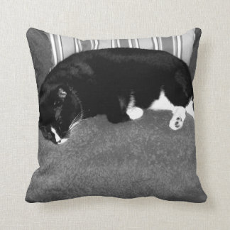 black cat sleeping on chair bw photo throw pillow