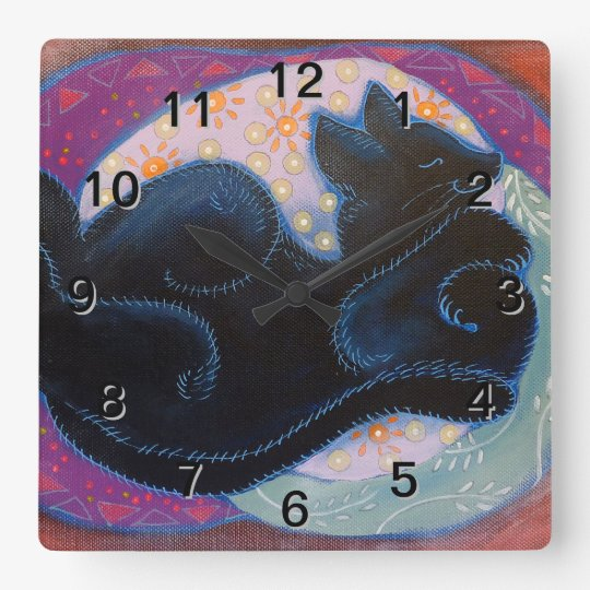 Black Cat. Sleeping. Square Wall Clock