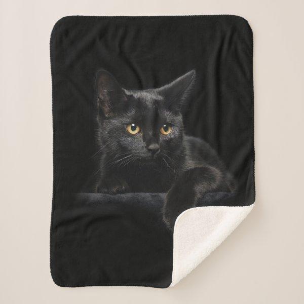 Black Cat Small Sherpa Fleece Blanket