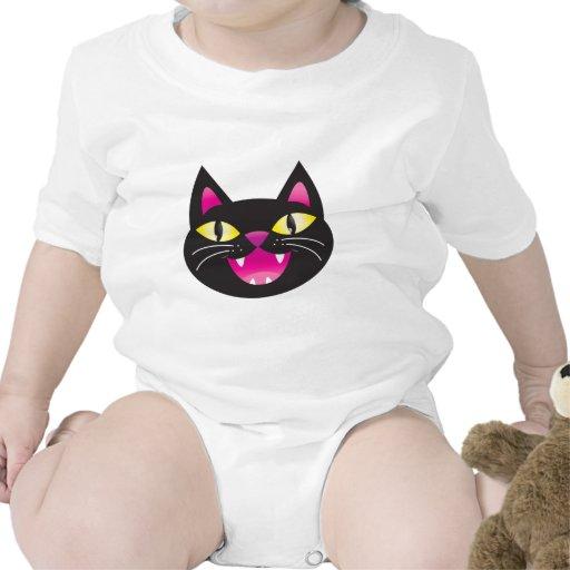 Black cat smiling romper