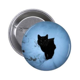 Black Cat Snowy Spotlight 2 Inch Round Button