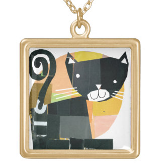Black Cat Spooks Gold Plated Necklace