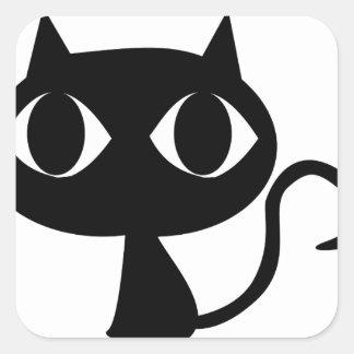 Black Cat Square Sticker