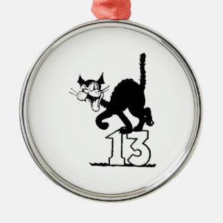 Black cat standing on the number 13 christmas tree ornaments for Number of ornaments for christmas tree