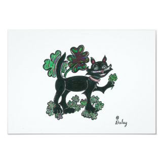 Black Cat standing over those four leaf clovers. Card