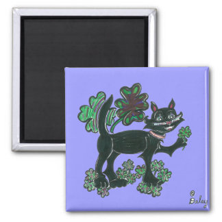 Black Cat standing over those four leaf Clovers Magnet