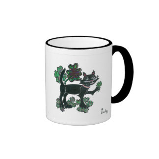 Black Cat standing over those four leaf clovers. Coffee Mugs