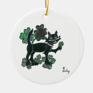 Black Cat standing over those four leaf clovers. Ornament