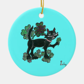 Black Cat standing over those four leaf Clovers Ornament