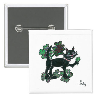 Black Cat standing over those four leaf clovers. Pinback Button