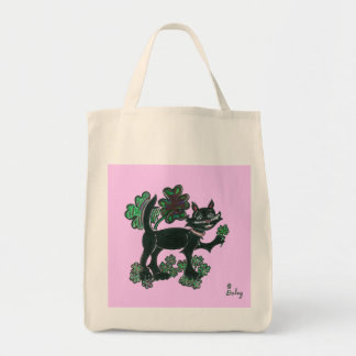 Black Cat standing over those four leaf Clovers Tote Bag