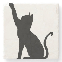 Black Cat Stone Coaster